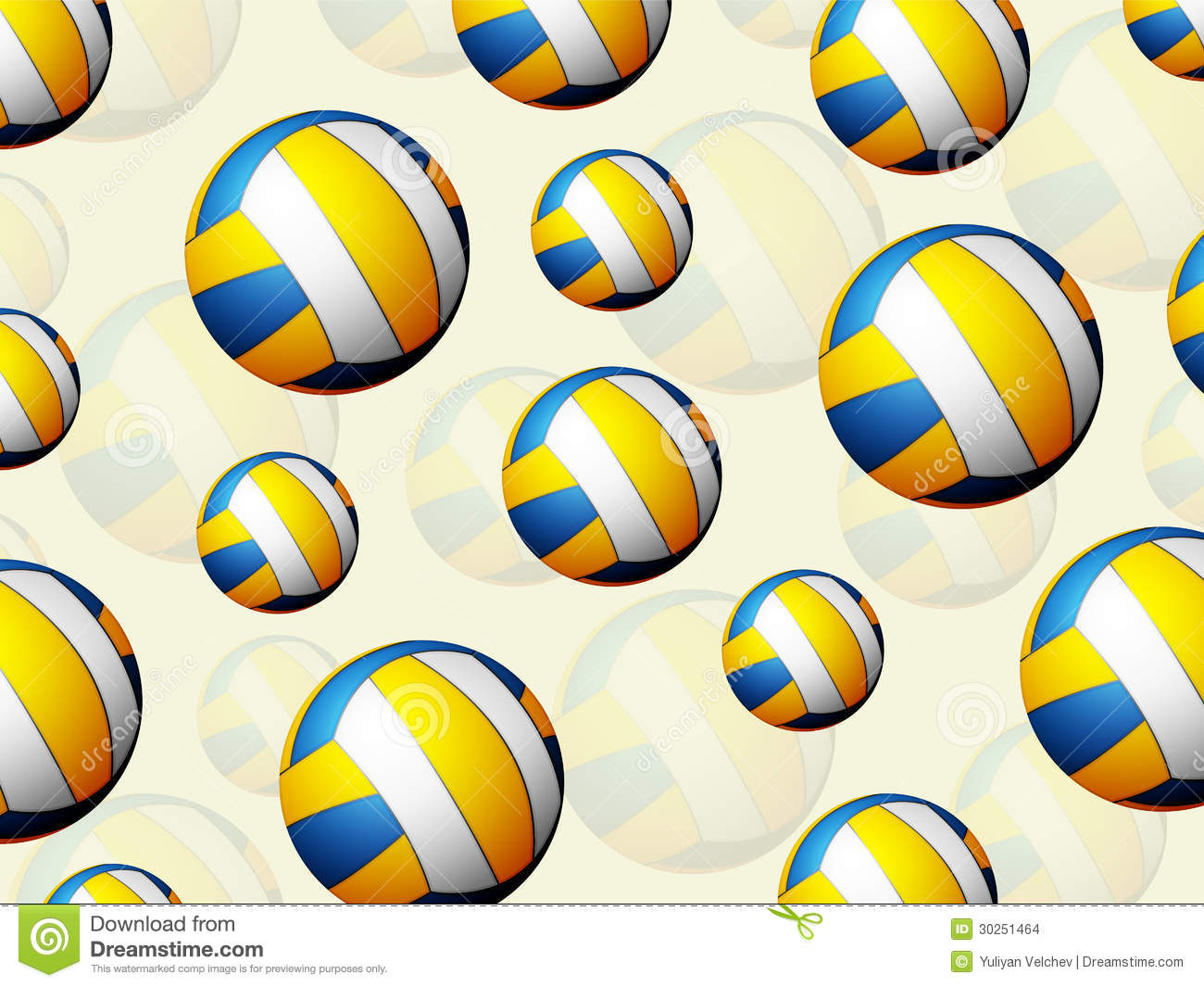 Background Abstract Sport Volleyball Blue Yellow Ball: Volleyball Balls Background Stock Vector