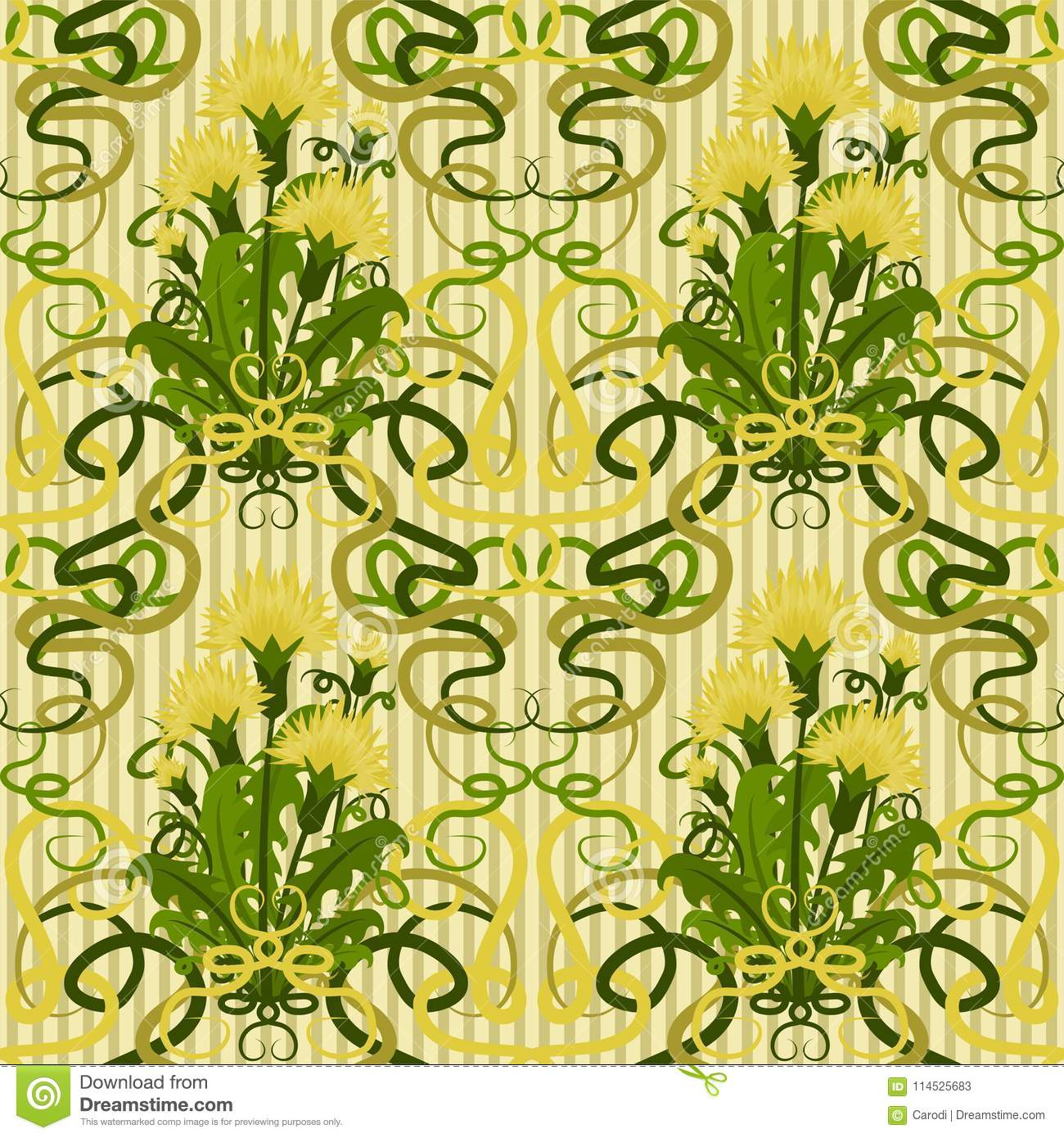Seamless Wallpaper With Dandelions In Art Nouveau Style Stock Vector ...