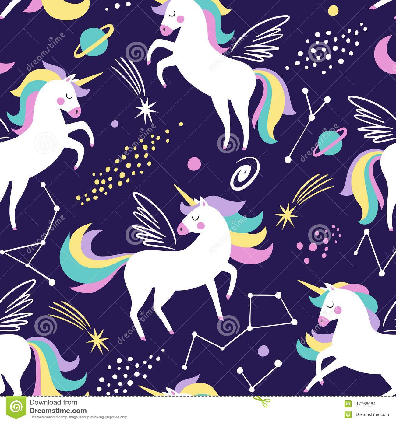 Hand drawn seamless vector pattern with cute unicorns, stars and planet.