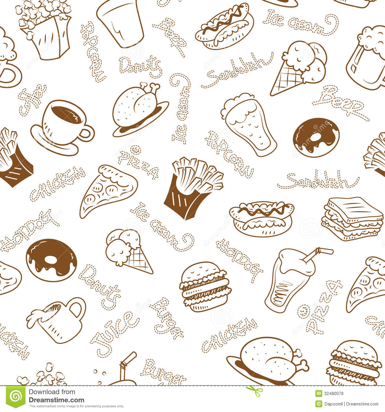 Seamless Wallpaper With Fast Food Royalty Free Stock