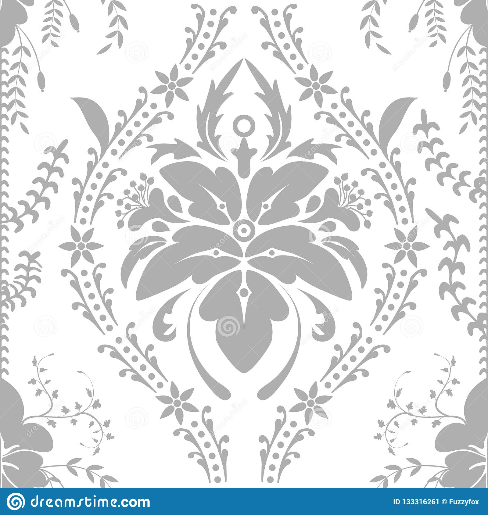 Seamless Wallpaper Floral Vintage Pattern Stock Illustration