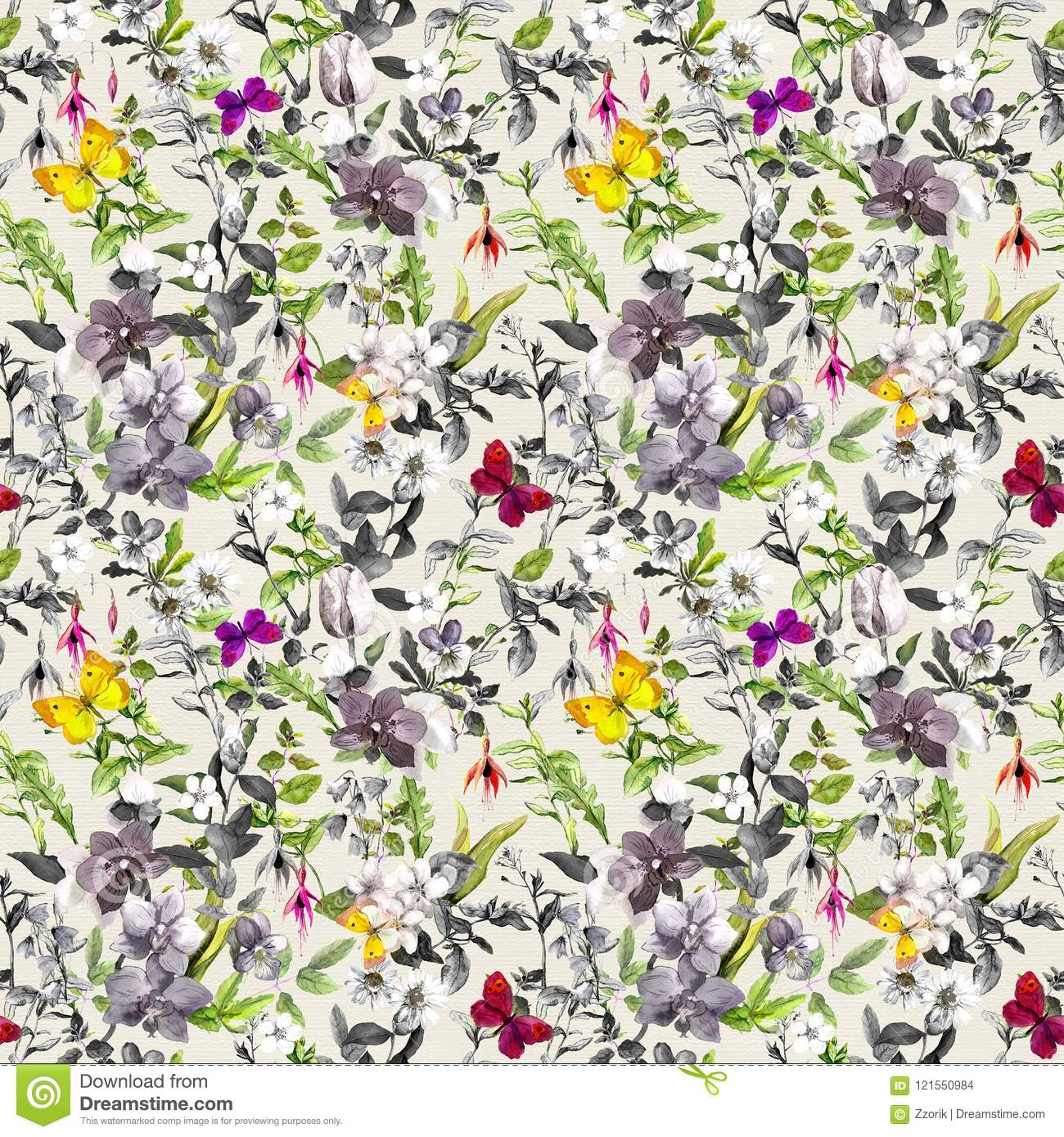 Seamless Wallpaper Flowers Butterflies Meadow Floral Pattern In