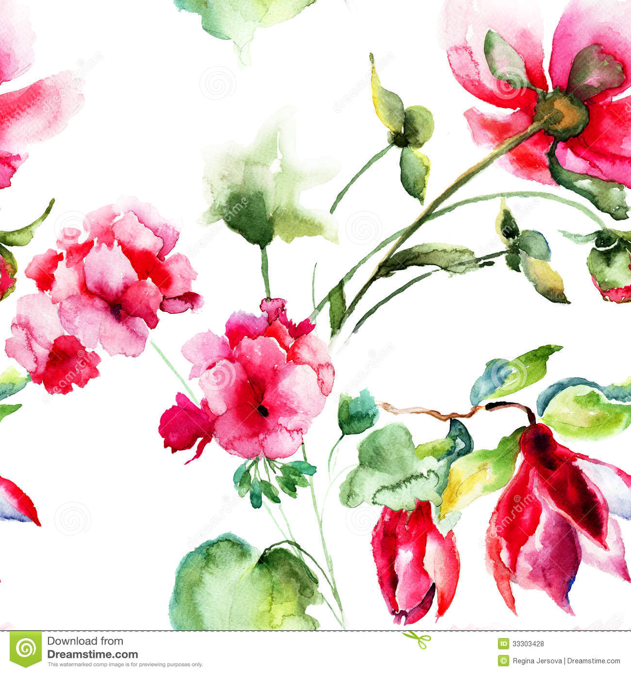 Seamless Wallpaper With Geranium And Peony Flowers Royalty Free