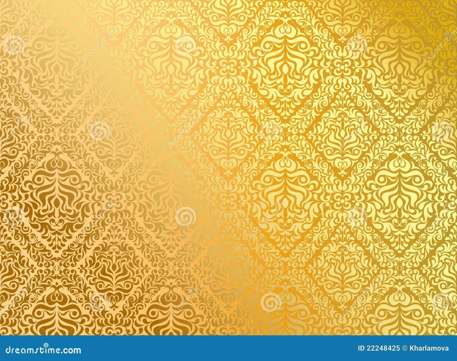 Seamless Wallpaper Gold Stock Vector Illustration Of