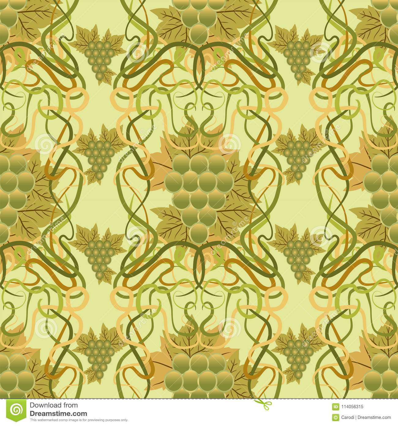 Seamless Wallpaper With Grape In Art Nouveau Style, Stock Vector ...