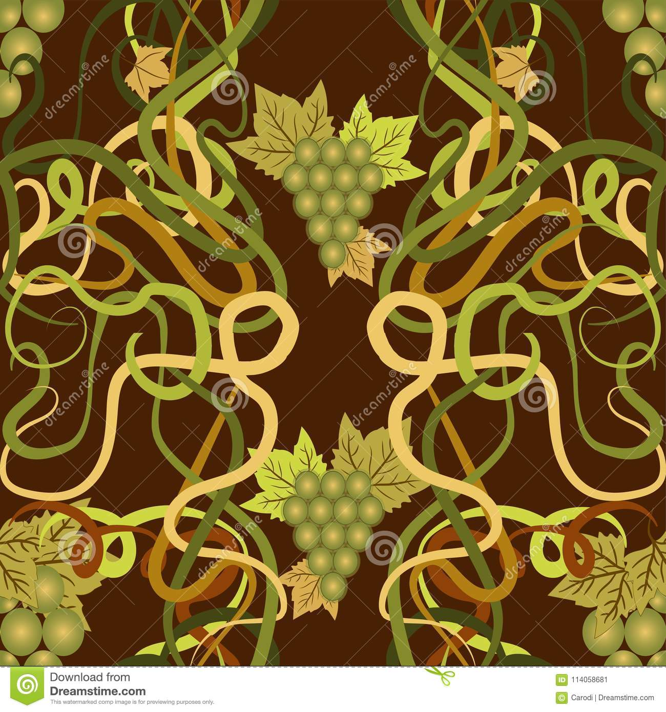 Seamless Wallpaper With Grape In Art Nouveau Style, Vector Stock ...