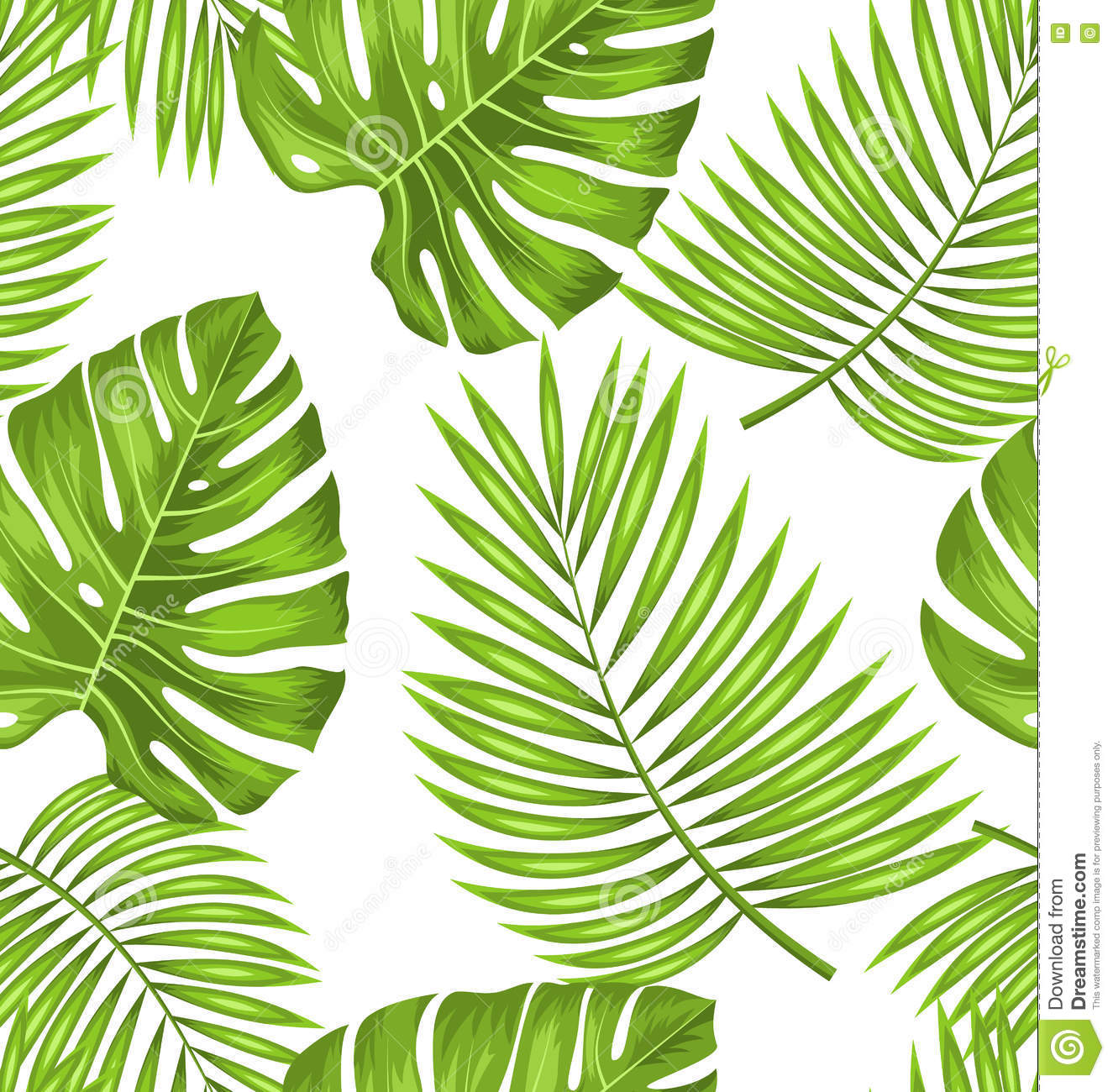 Seamless Wallpaper With Green Tropical Leaves For Fabric Swatch Stock Vector Illustration Of