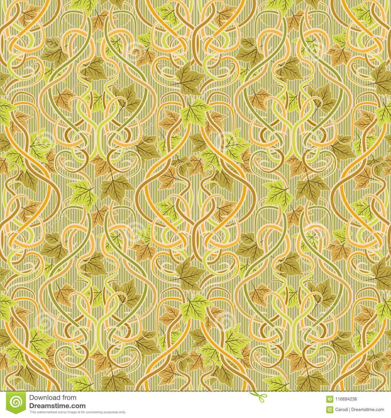 Seamless Wallpaper With Leaves In Art Nouveau Style, Vector Stock ...
