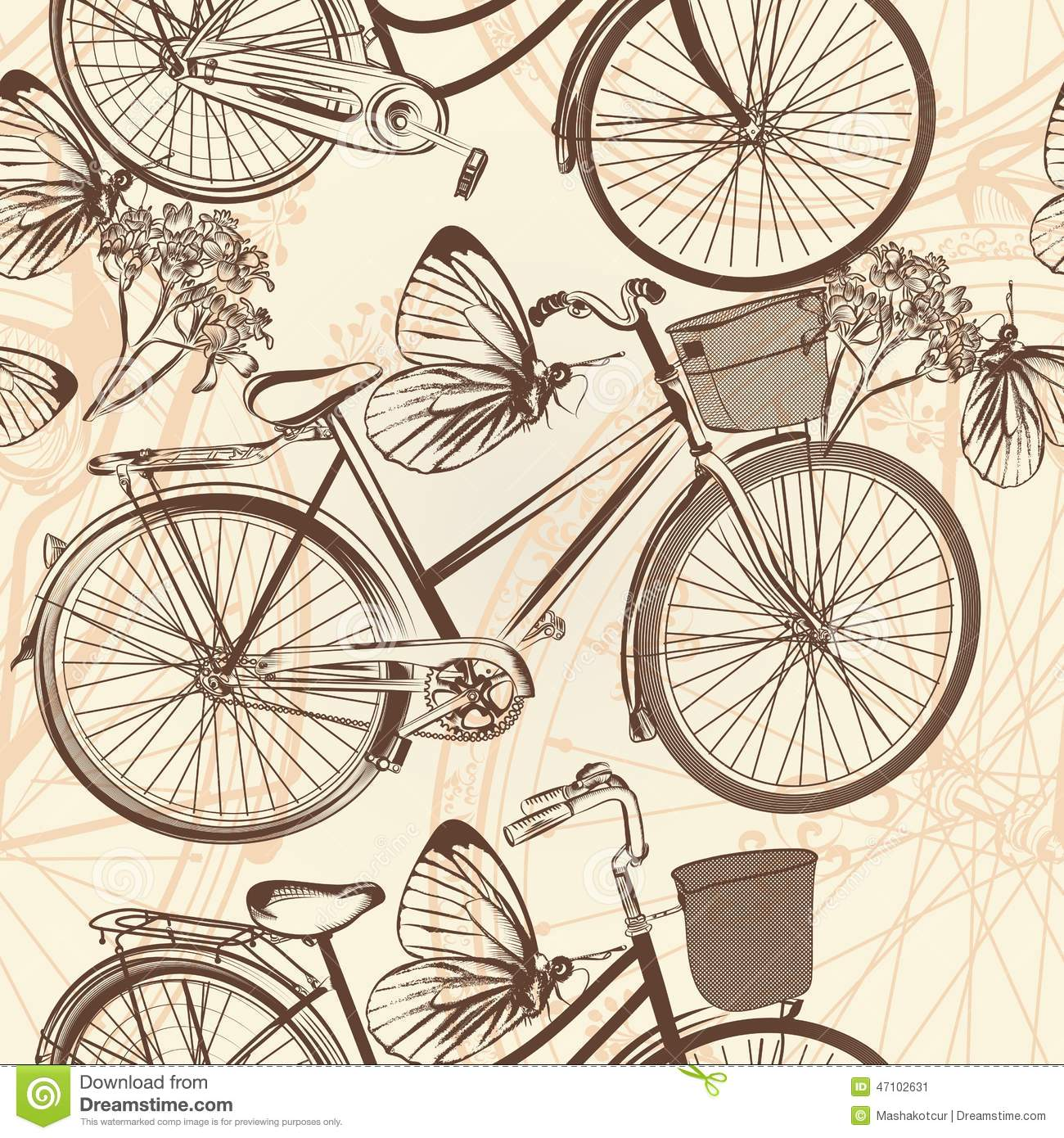 Seamless Wallpaper Pattern With Bicycles In Retro Style