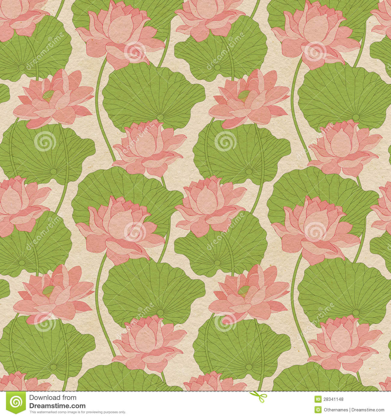 Lotus Flower Design Wall Paper : Seamless wallpaper pattern with lotus royalty free stock