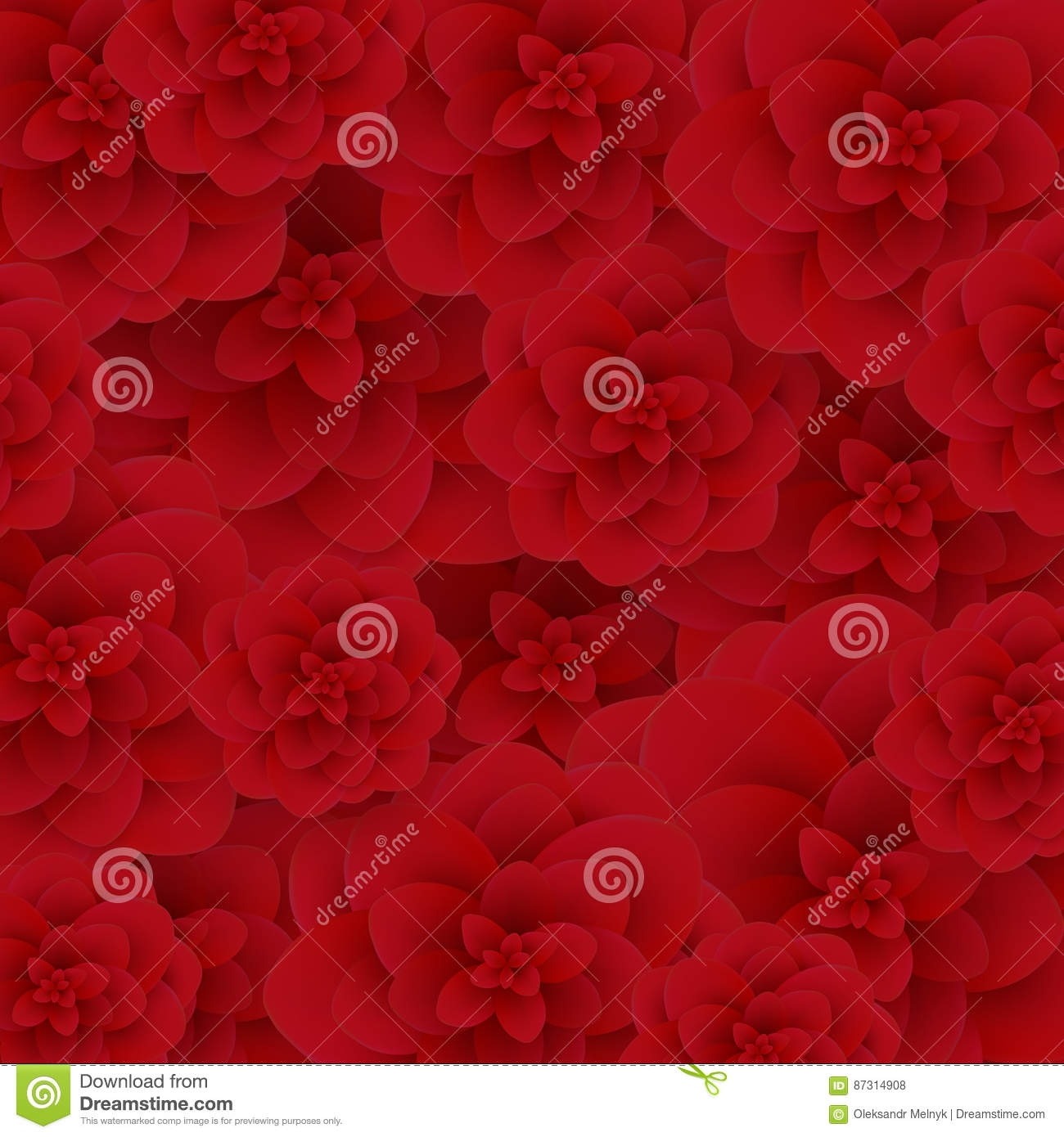 Seamless Wallpaper Pattern Red Roses On Design Background Vector Illustration