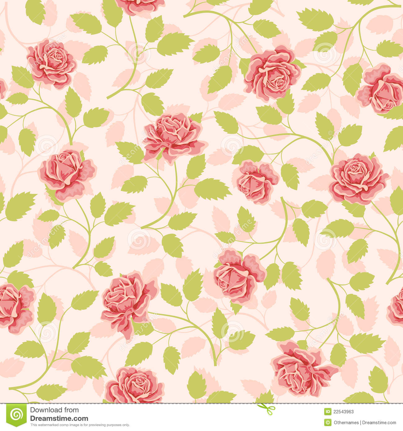 Seamless Wallpaper Pattern With Roses Stock Vector