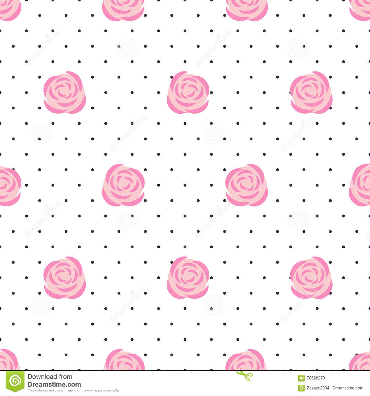 Pics photos pink polka dot s wallpaper - Royalty Free Vector Download Seamless Wallpaper Pink Roses On Polka Dots