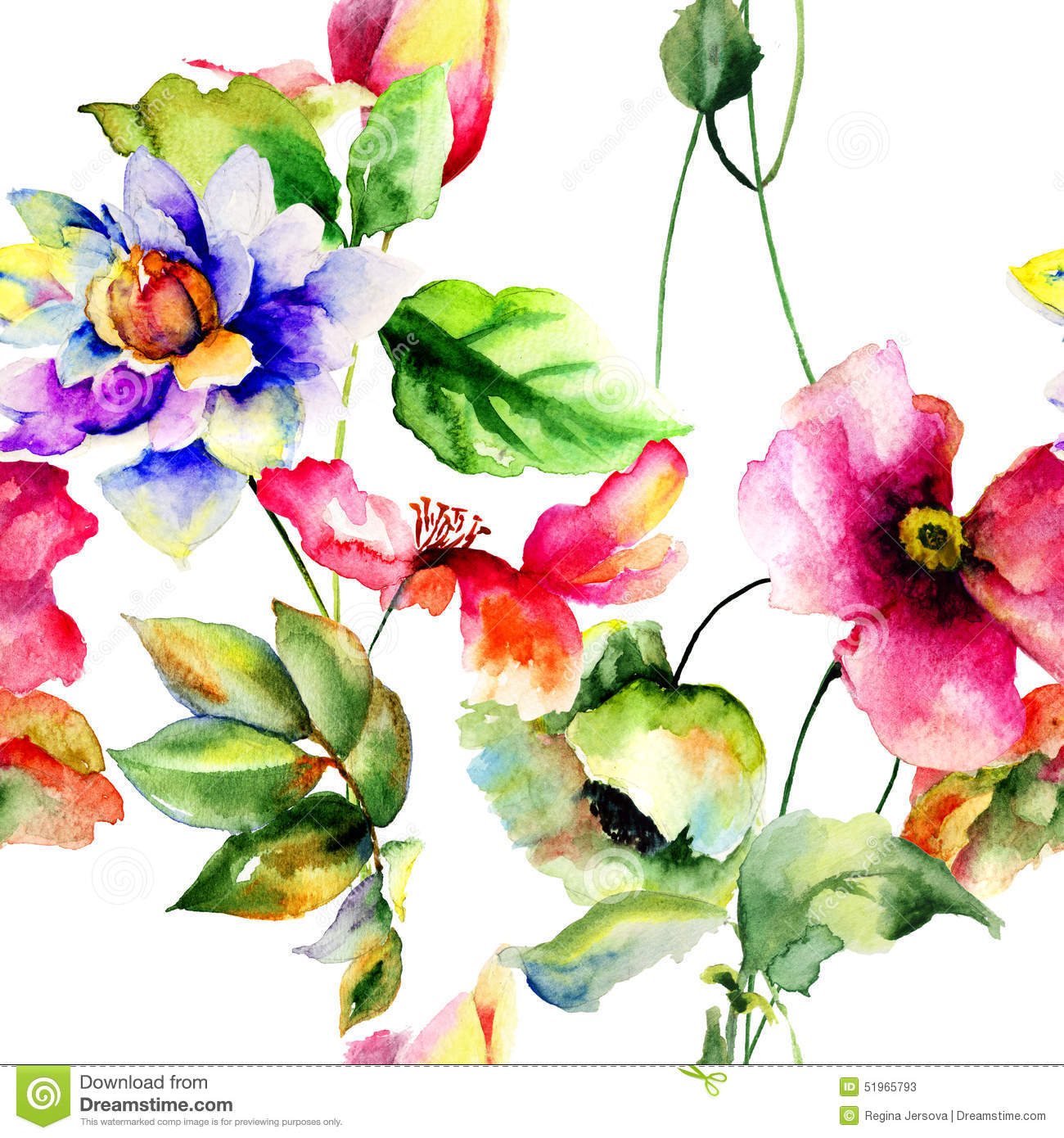 Seamless wallpaper with spring flowers royalty free stock for Spring flowers watercolor