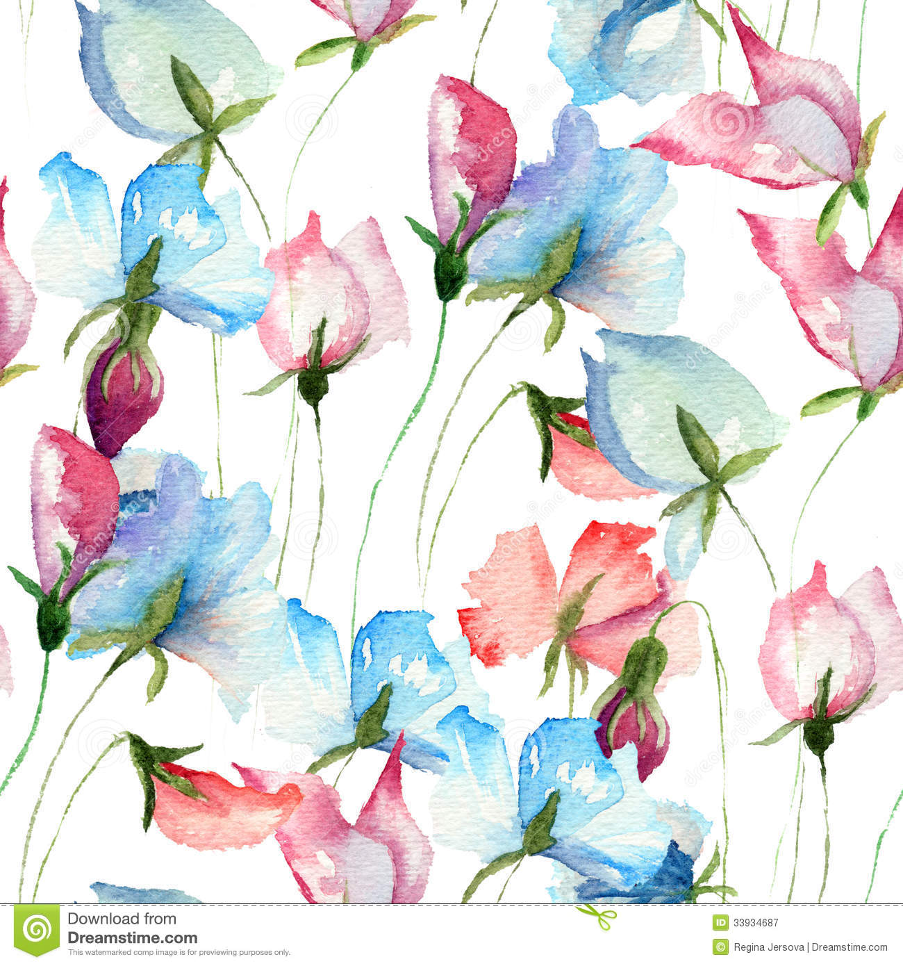 Seamless Wallpaper With Sweet Pea Flowers Stock