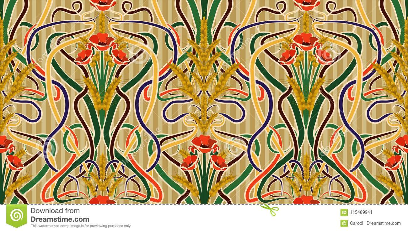 Seamless Wallpaper With Wheat And Poppies In Art Nouveau Style ...