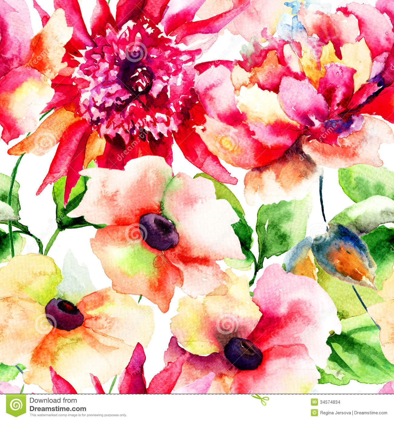 Seamless Wallpapers With Beautiful Pink Flower Stock Illustration
