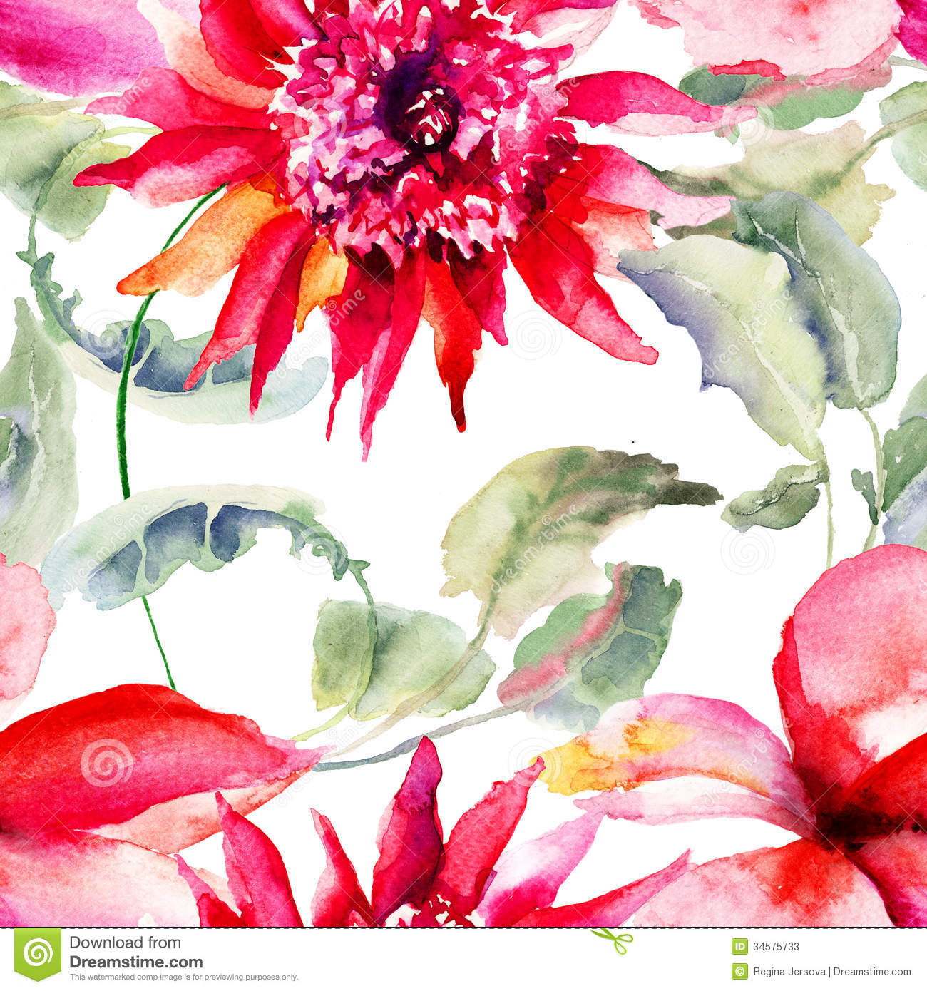 Seamless Wallpapers With Beautiful Pink Flower Stock