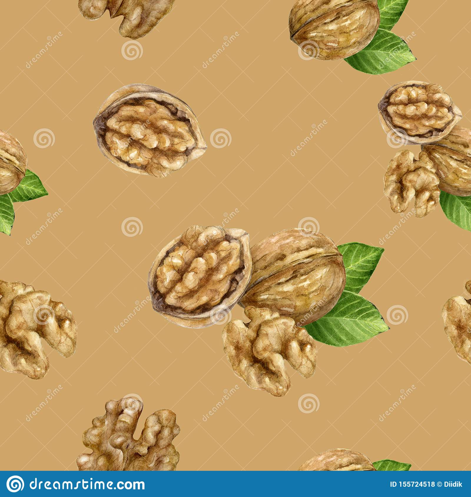 Walnut hand drawn watercolor illustration. Seamless pattern.