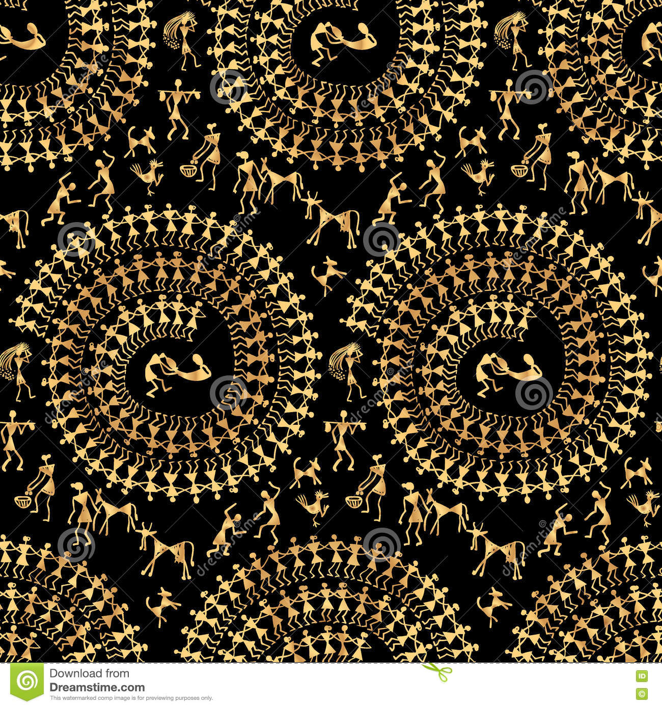 Warli painting seamless pattern - hand drawn traditional the ancient tribal art India. Rudimentary Technique depicting rural life of the inhabitants of ...