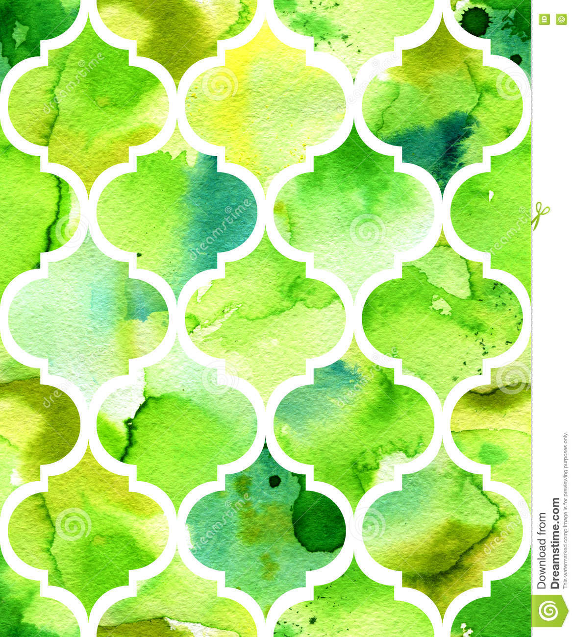 Seamless watercolor background in green. Beautiful pattern in moroccan style.