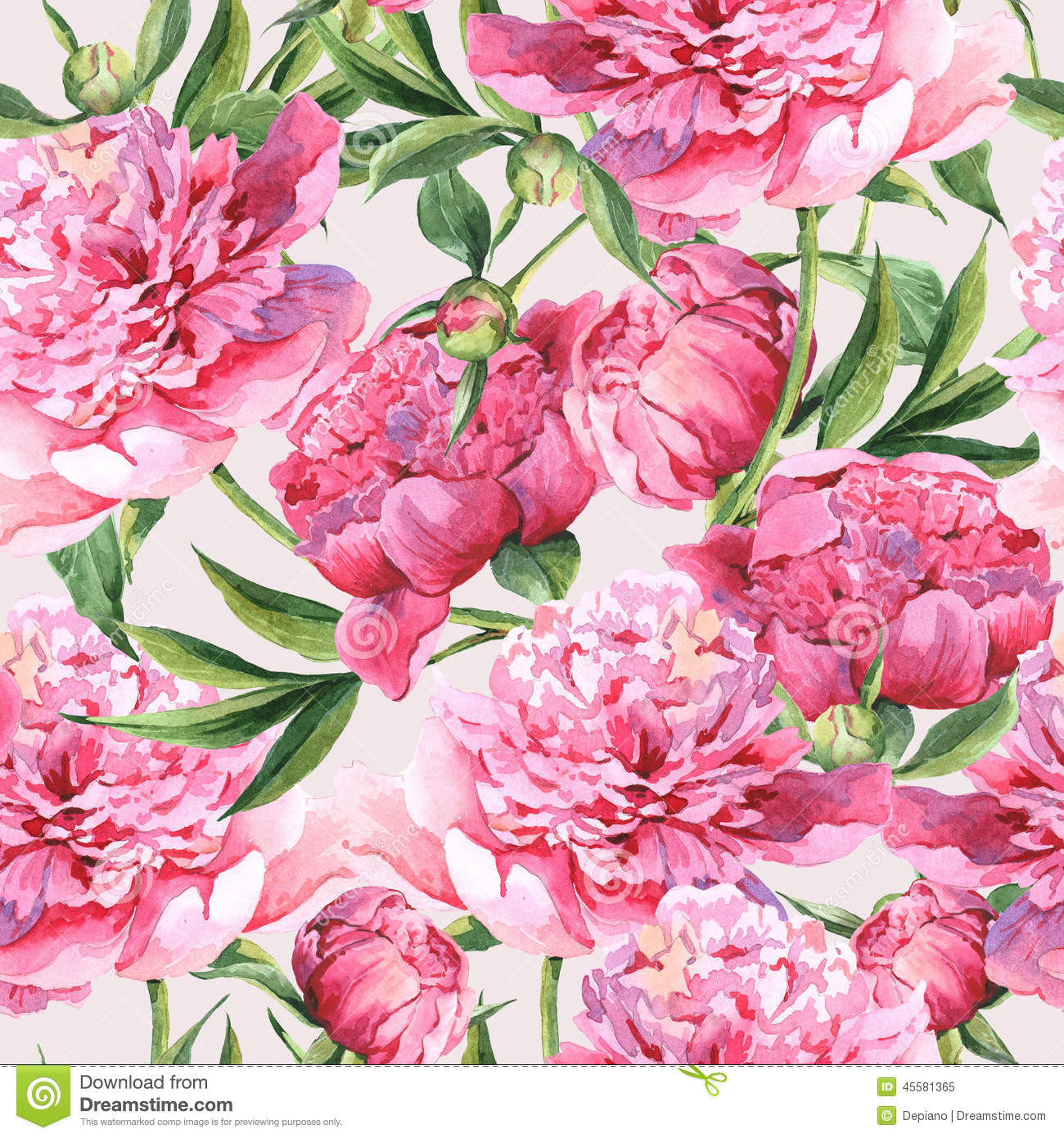 Seamless Watercolor Background With Pink Peonies Stock
