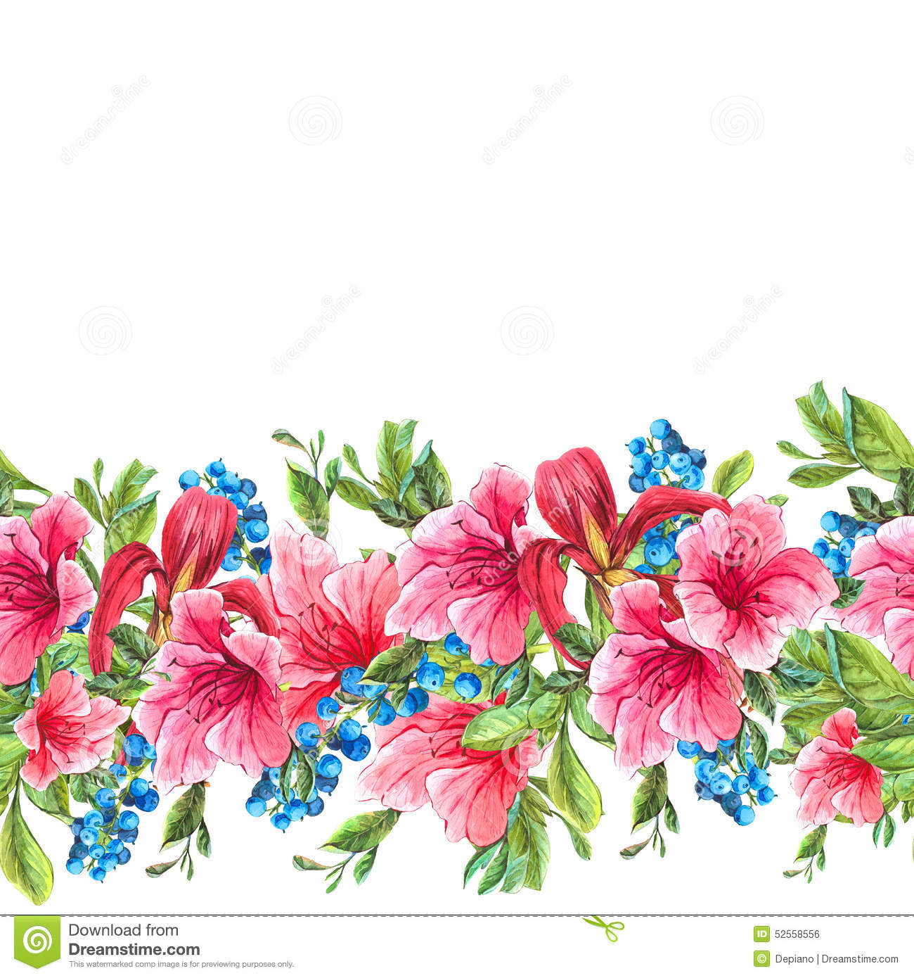 seamless watercolor border with tropical flowers stock, Beautiful flower