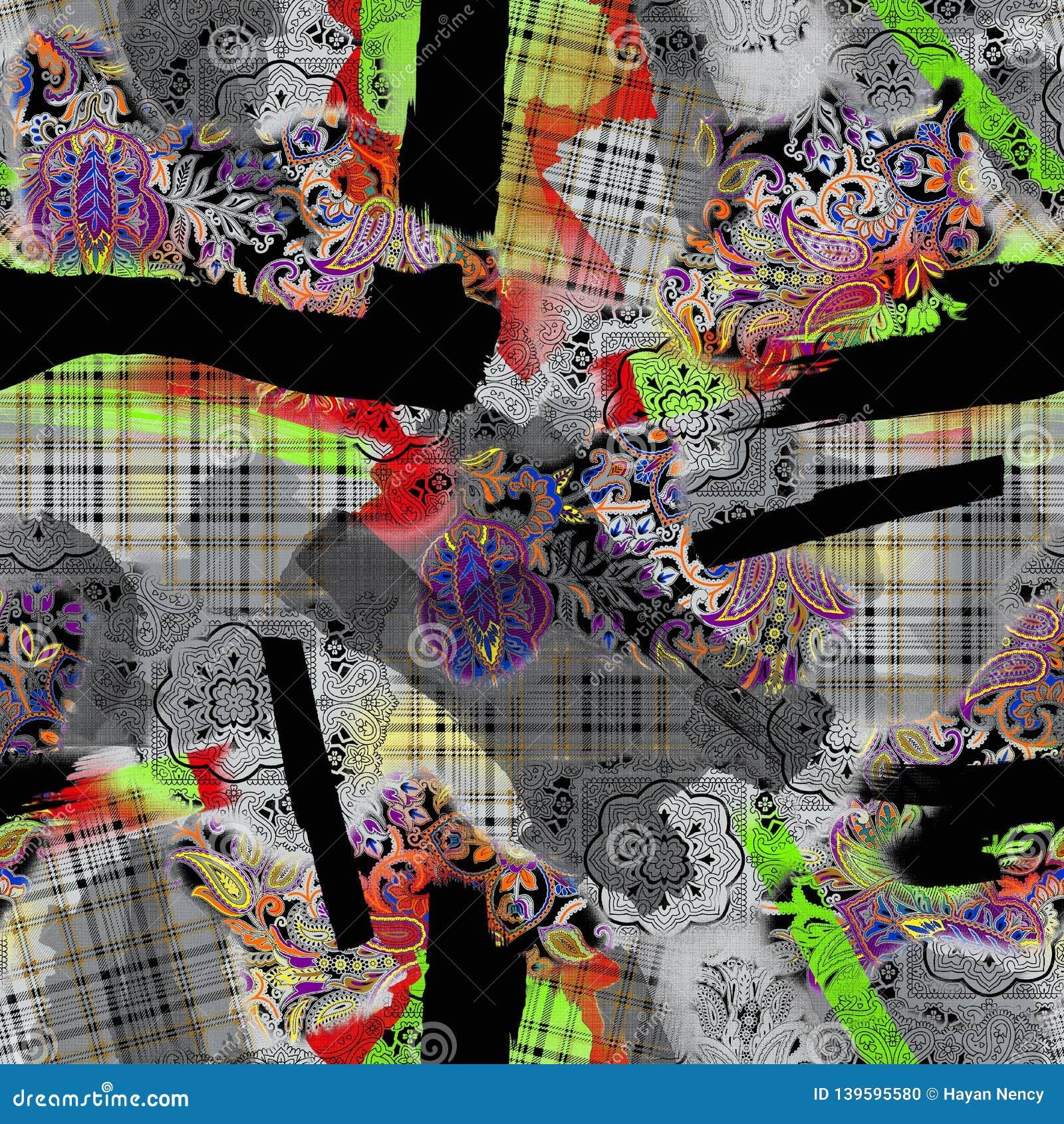 Seamless watercolor digital paisley and checks pattern