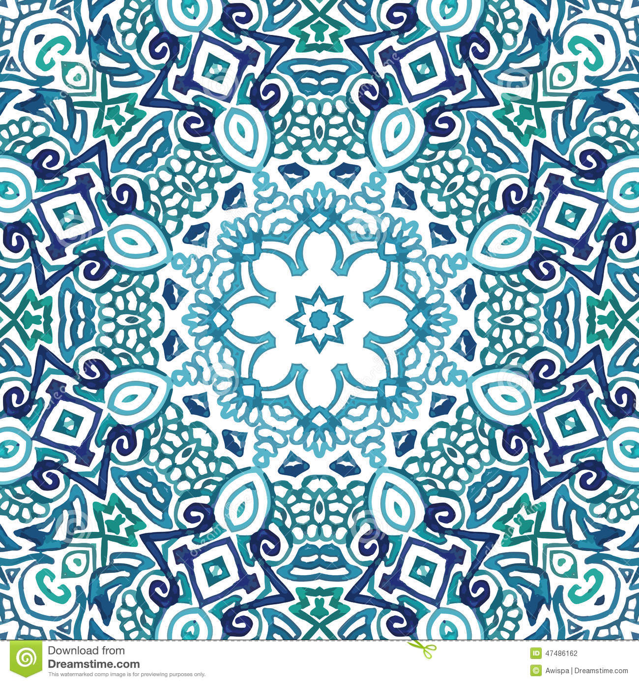 Seamless watercolor doodle decorative pattern