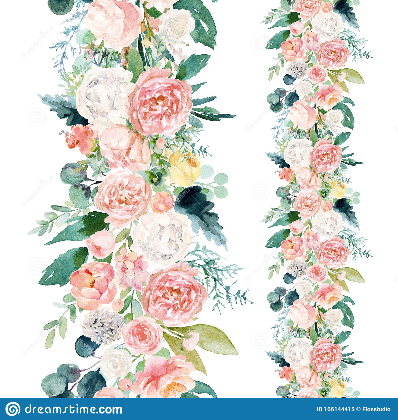 Seamless Watercolor Floral Pattern With Flower Border Composition