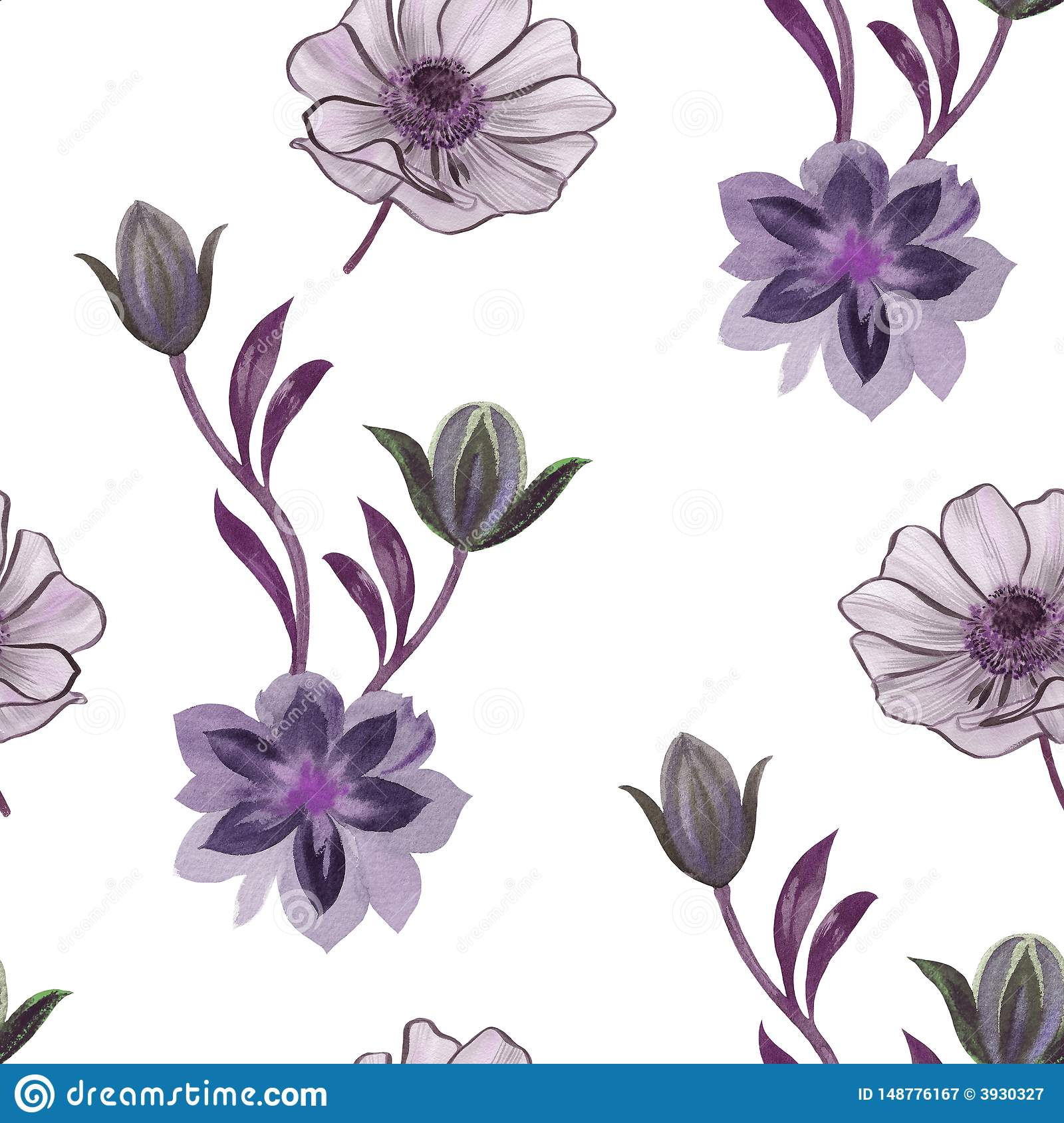 Seamless watercolor flowers pattern. Hand painted flowers on a white background. Flowers for design. Ornament flowers. Seamless bo