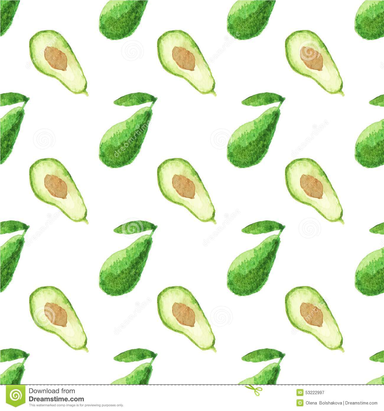 Seamless Watercolor Pattern With Avocado On The Stock Vector - Image ...