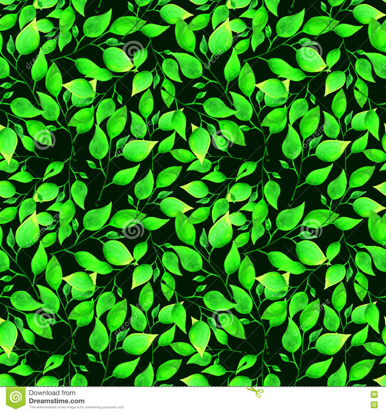 Green Floral Seamless Pattern on Victorian Ornamental Border Brown