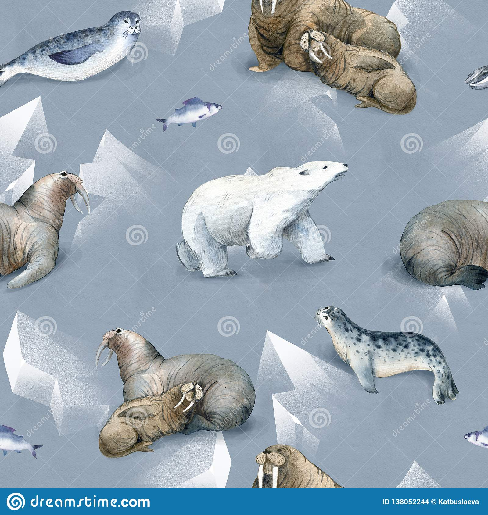 Seamless watercolor pattern about north fauna. Ice and sea animal. White bear, warlus, fish and seal on snow