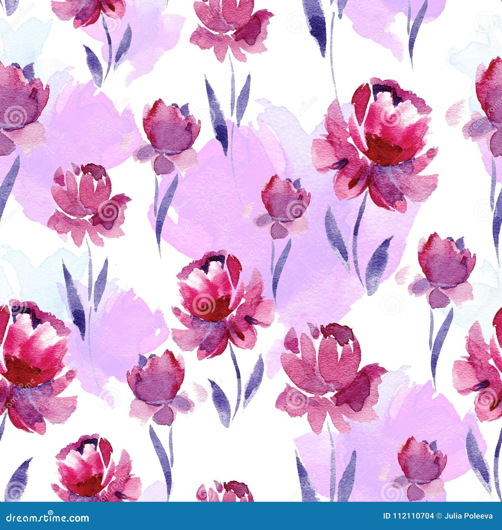 Seamless watercolor pattern of pink flowers and purple leaves on a seamless watercolor pattern of pink flowers and purple leaves on a white background mightylinksfo