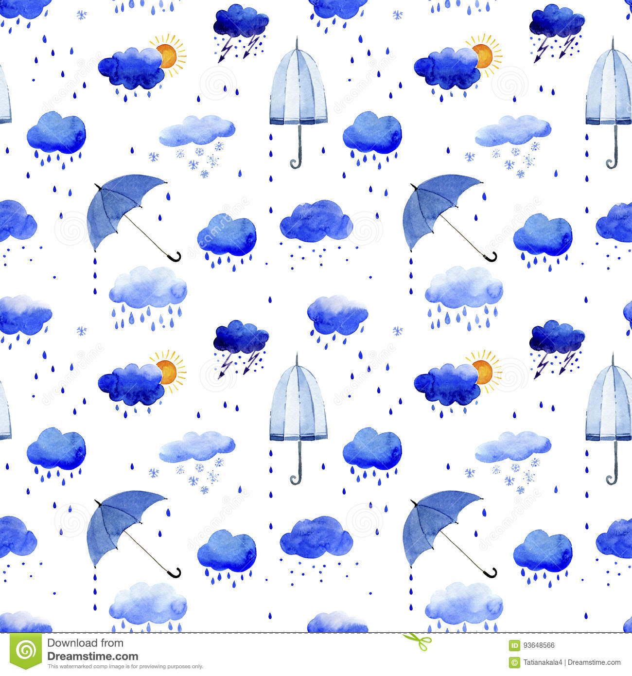 Seamless watercolor pattern of rain clouds and umbrellas