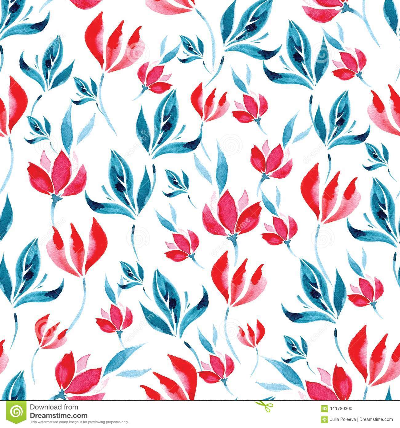 Seamless watercolor pattern of red flowers and turquoise leaves on a white background.