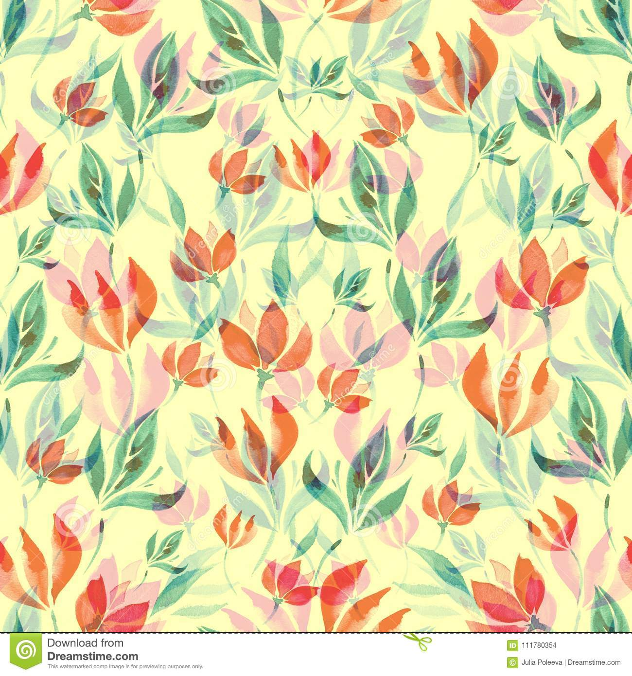 Seamless watercolor pattern of red flowers and turquoise leaves on a yellow background.