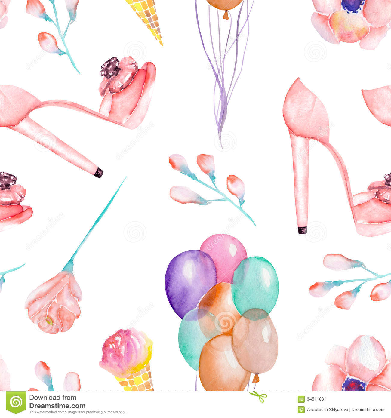 Seamless Pattern With Hand Drawn Watercolor Ice Cream: A Seamless Watercolor Pattern With The Women's Romantic