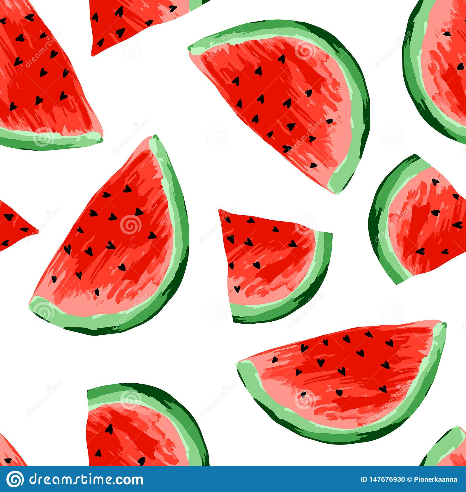 Seamless watermelons pattern. Slices of watermelon, berry background. Painted fruit, graphic art, cartoon.