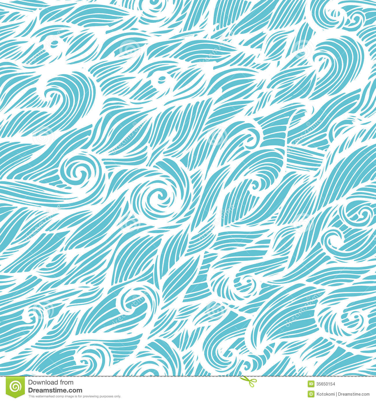Seamless Wave Hand Drawn Pattern Stock Illustration