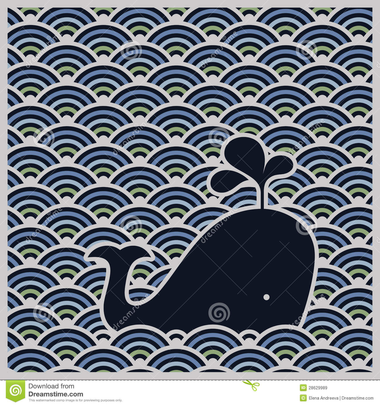seamless wavy pattern with blue whale - vector royalty free stock images