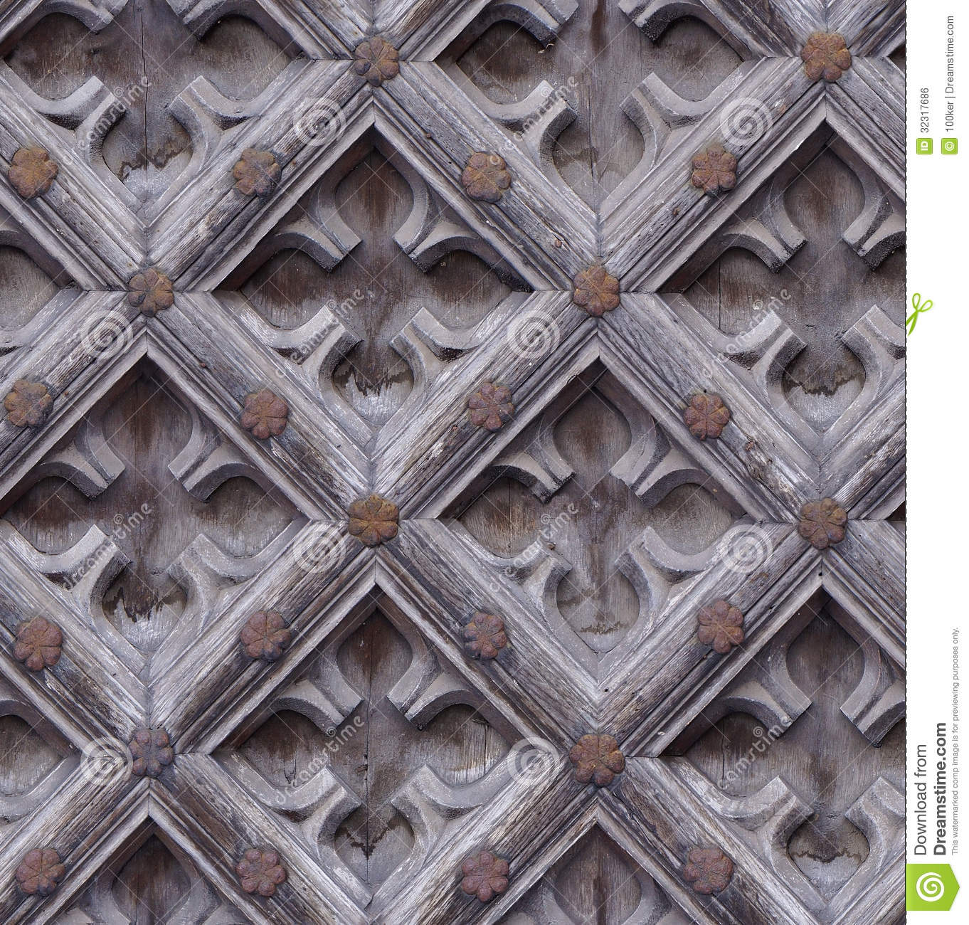 Seamless weathered carving wood door texture stock photo image