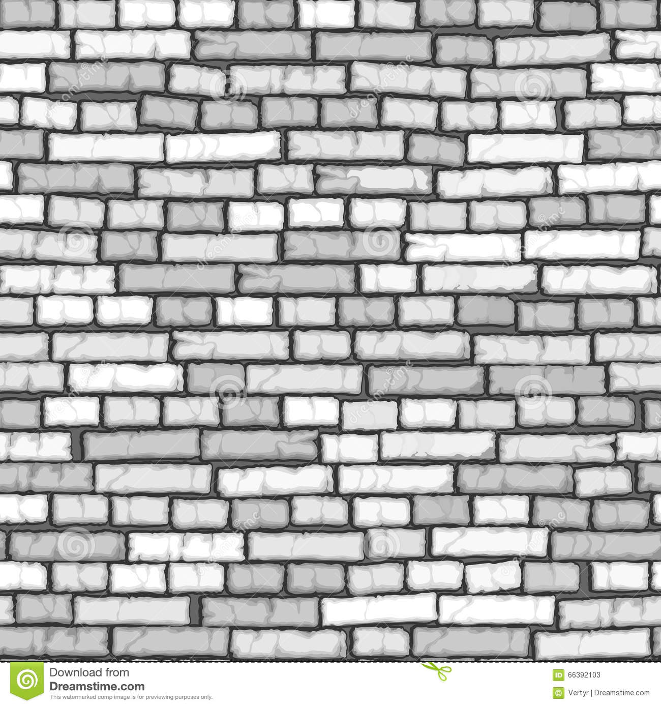 Seamless White Brick Wall Background. Stock Vector