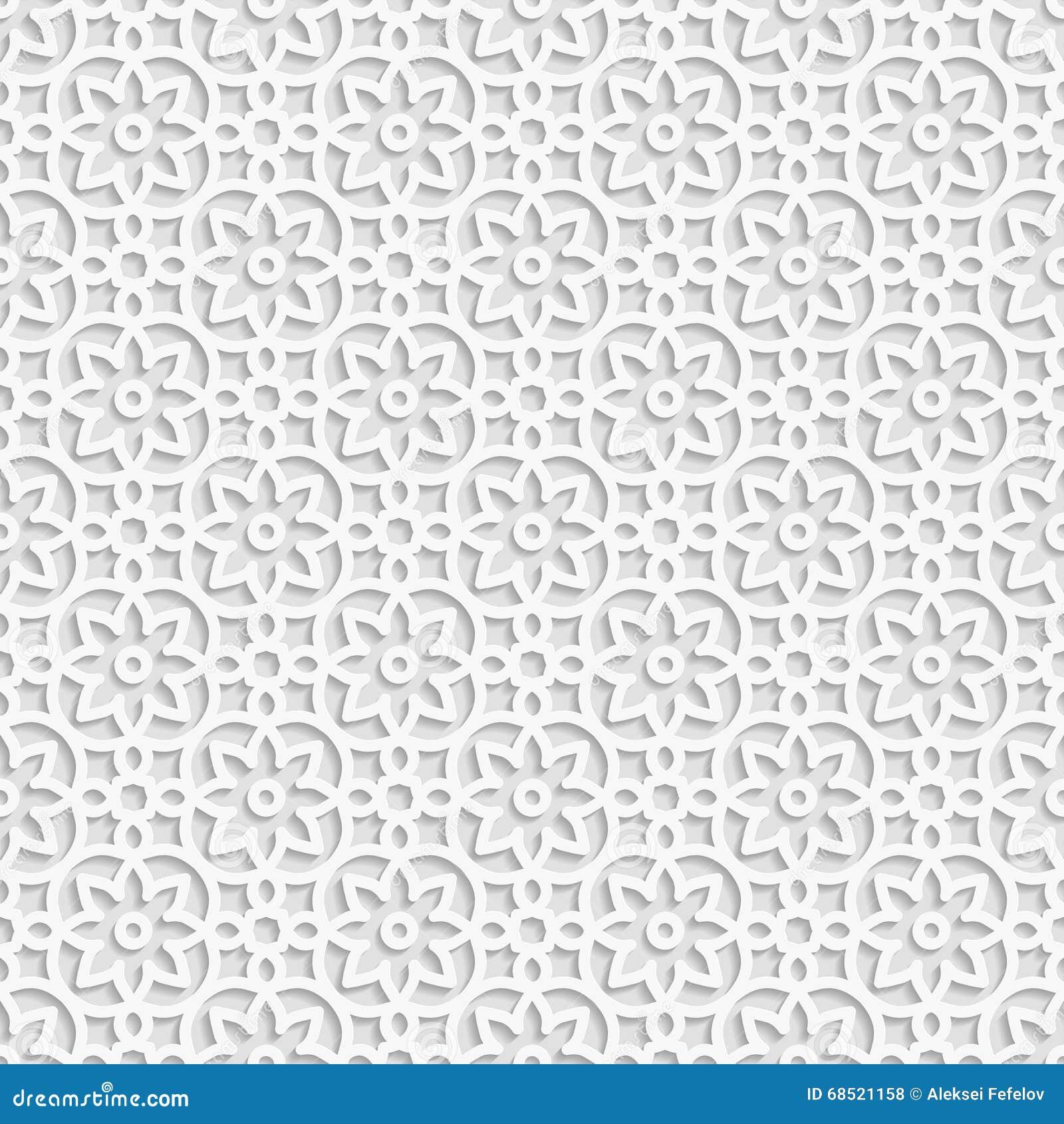Seamless White 3D Pattern, Arabic Motif, East Ornament, Indian ...