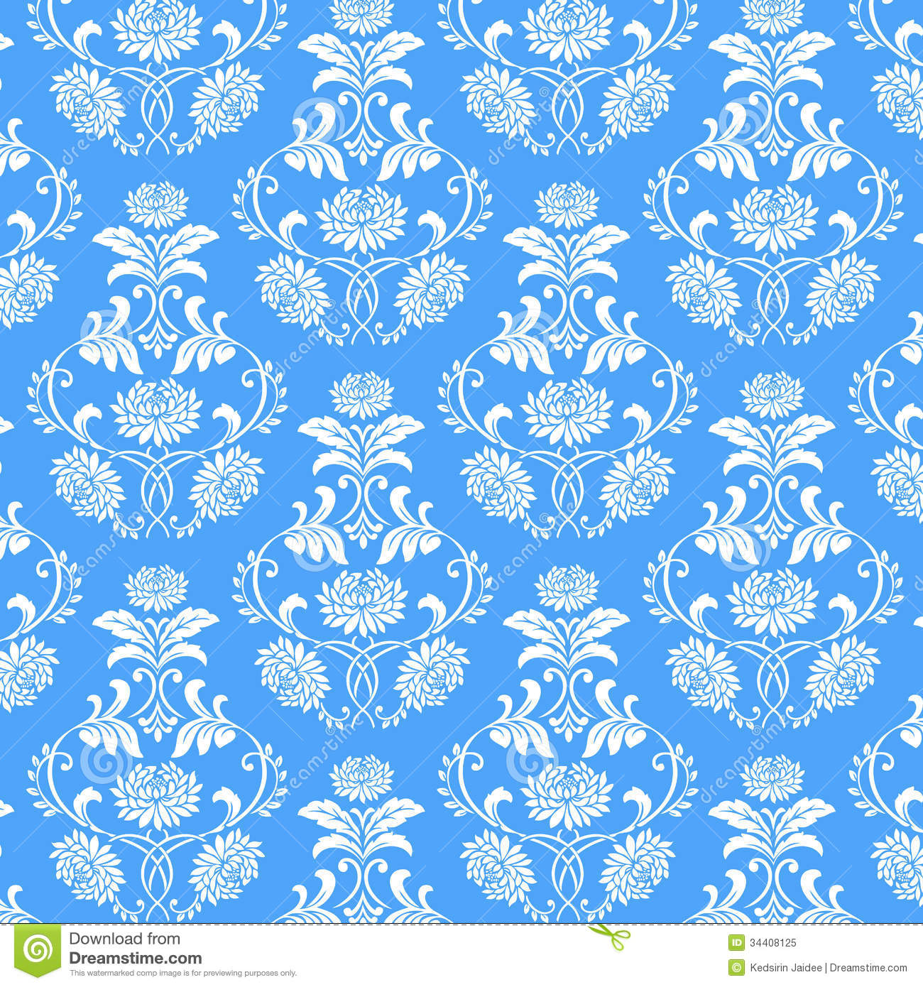 Seamless White Flower Pattern On Blue Background Stock ...