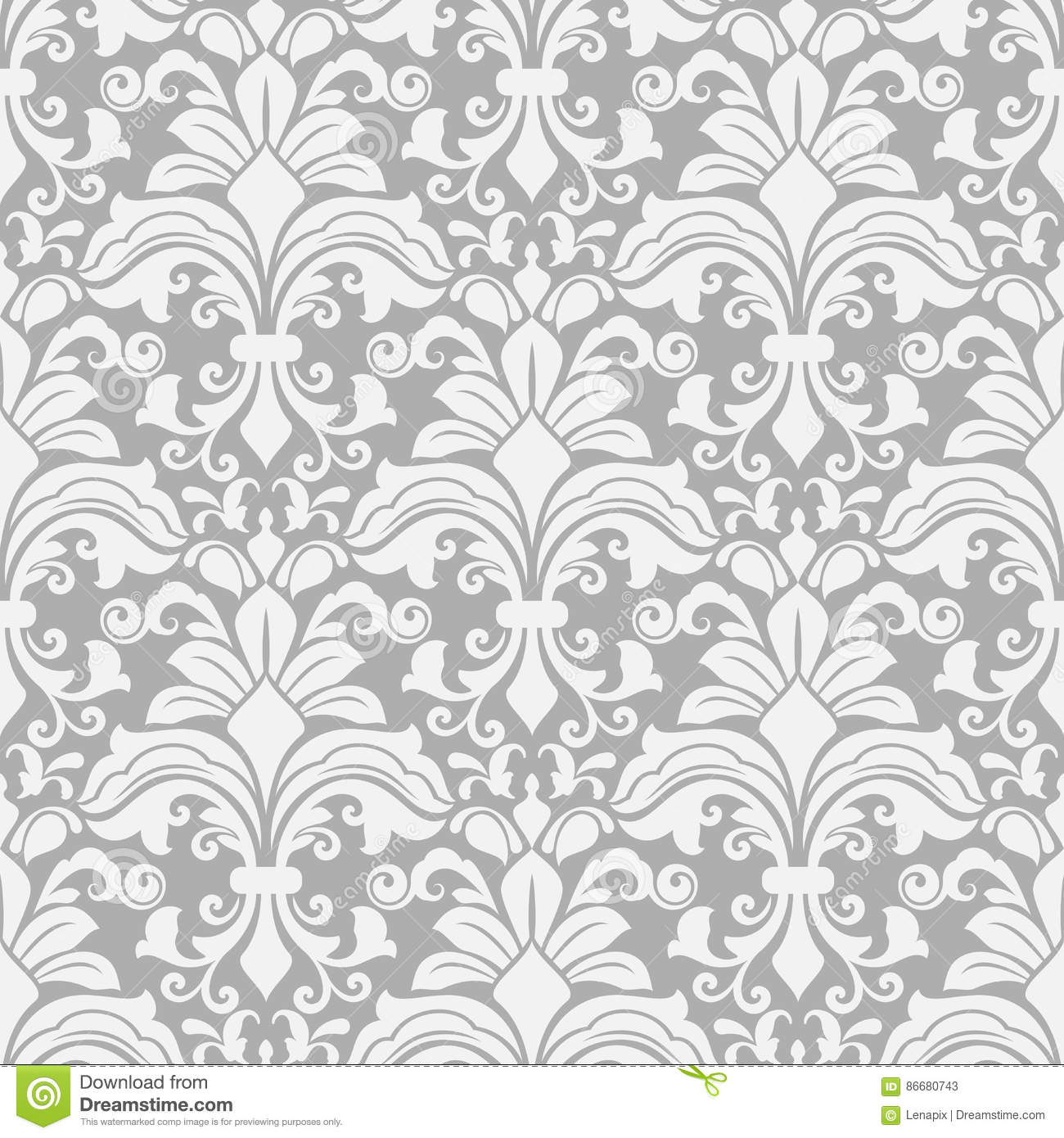 Seamless White And Grey Floral Background Stock Vector