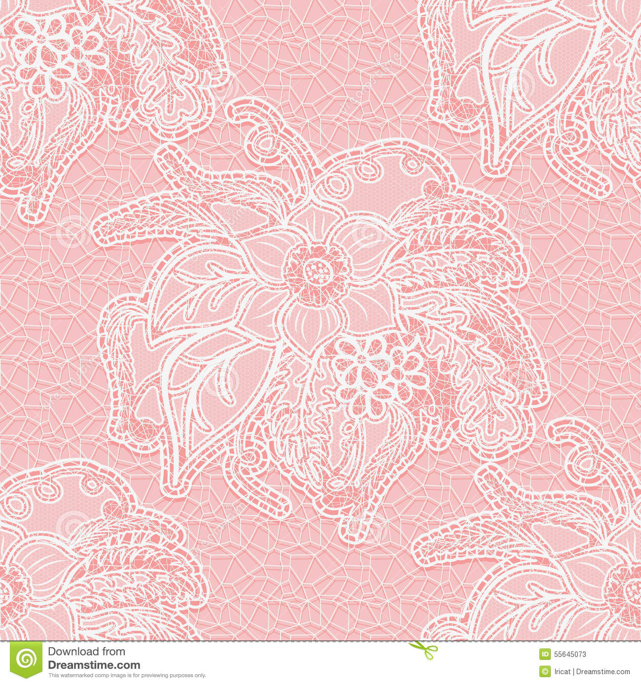 Seamless White Lace Fabric On A Pink Background. Large Floral ...
