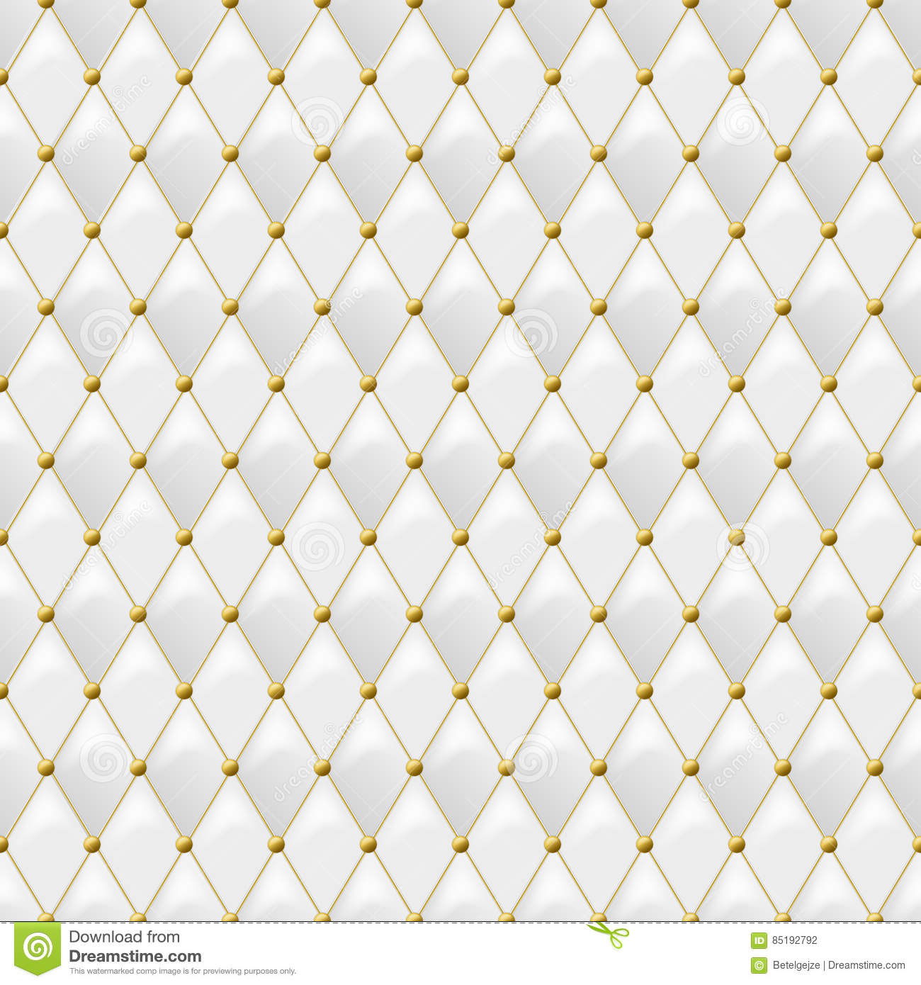 Seamless White Leather Texture With Gold Metal Details Vector Background