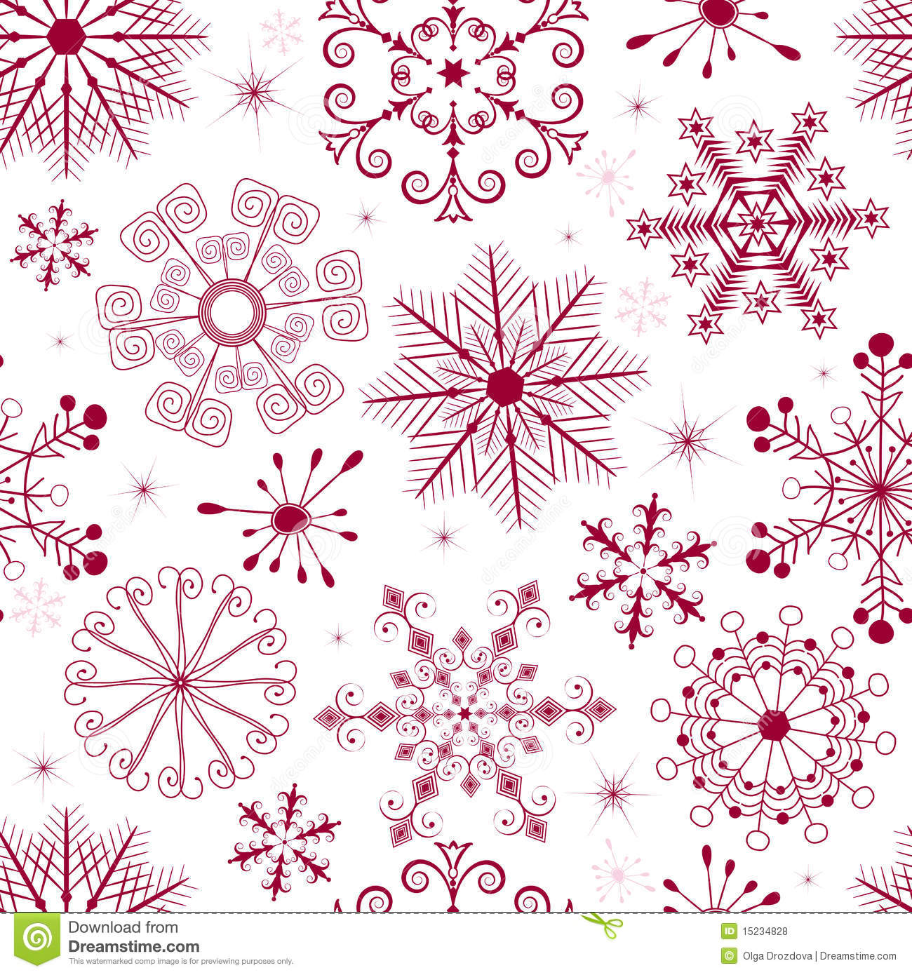 Seamless white christmas pattern with red and pink snowflakes.